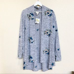 FIG AND FLOWER ANTHRO NWT Embroidered Cardigan